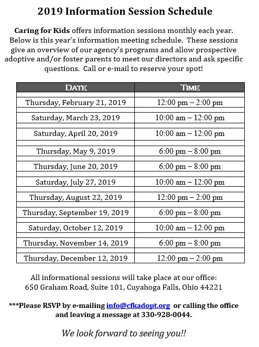 2019 Info Sessions - Schedule